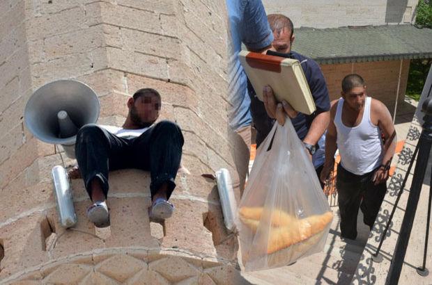 Konya'da bir kişi cami minaresinde intihara kalkıştı