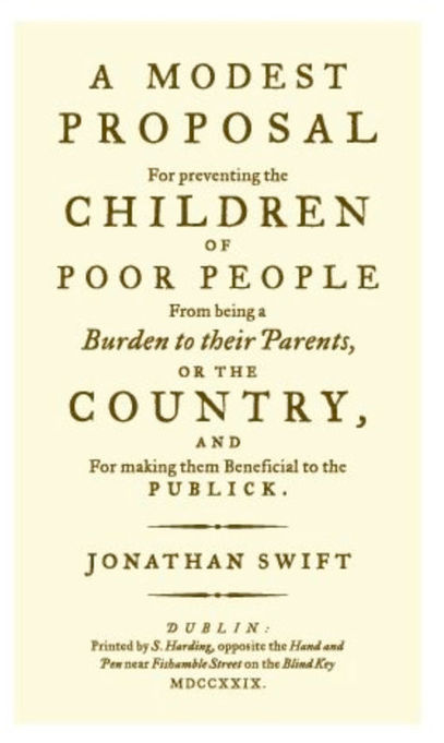 an analysis of irish by jonathan swift Early years and education jonathan swift was born into a summary and analysis part i instead of maintaining that english laws prevent the irish from.