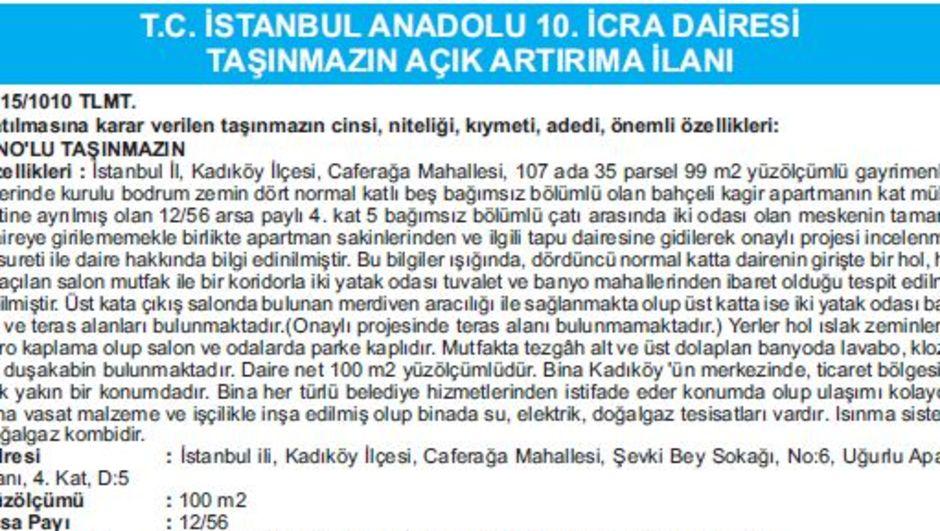 T.C. İSTANBUL ANADOLU 10. İCRA DAİRESİ TAŞINMAZIN AÇIK ARTIRIMA İLANI