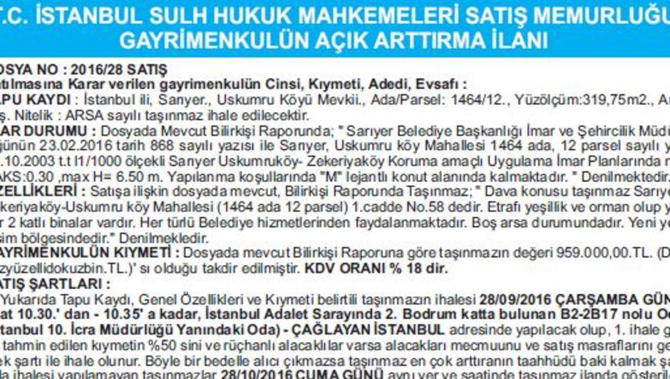 T.C. İSTANBUL SULH HUKUK MAHKEMELERİ SATIŞ MEMURLUĞU GAYRİMENKULÜN AÇIK ARTTIRMA İLANI