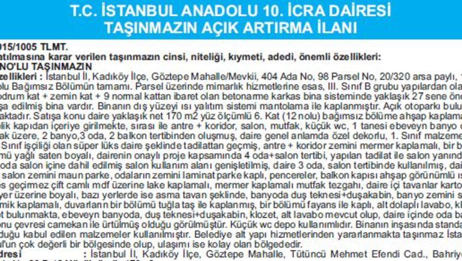 T.C. İSTANBUL ANADOLU 10. İCRA DAİRESİ TAŞINMAZIN AÇIK ARTIRMA İLANI