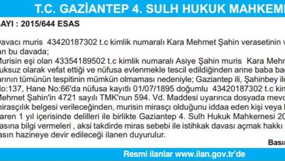 T.C. GAZİANTEP 4. SULH HUKUK MAHKEMESİ İLAN