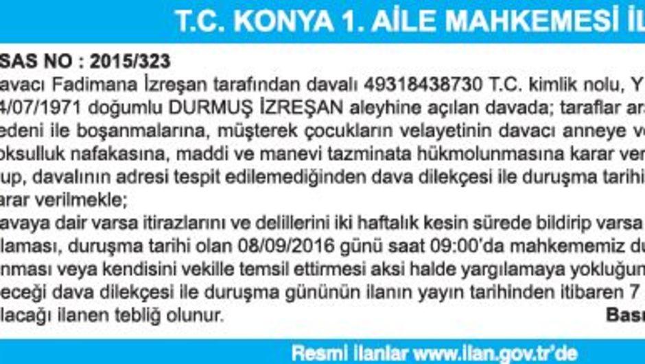 T.C. KONYA 1. AİLE MAHKEMESİ İLAN