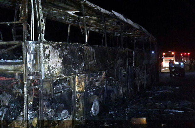 Eskişehir'de seyir halindeki yolcu otobüsü yandı