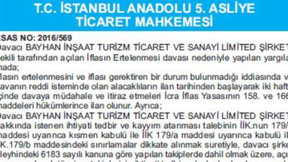 T.C. İSTANBUL ANADOLU 5. ASLİYE TİCARET MAHKEMESİ