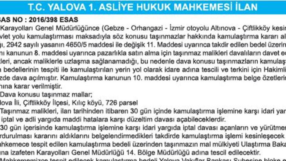 T.C. YALOVA 1. ASLİYE HUKUK MAHKEMESİ İLAN
