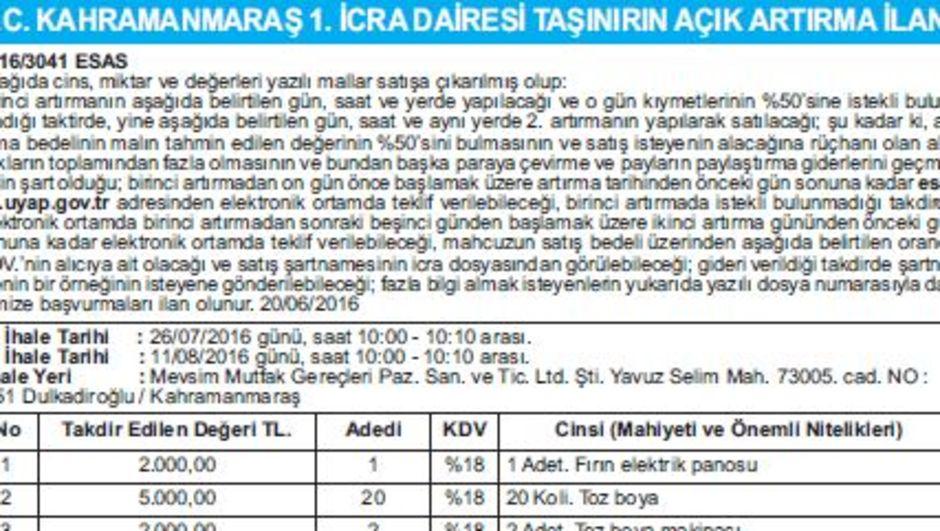 T.C. KAHRAMANMARAŞ 1. İCRA DAİRESİ TAŞINIRIN AÇIK ARTIRMA İLANI