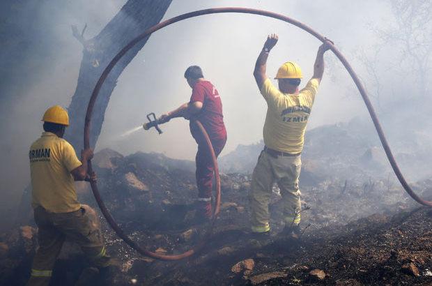 İzmir'de ağaçlık alanda yangın