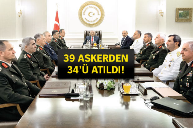 2016 YAŞ Kararları! 2015'te general olan 30 isimden 28'i atıldı