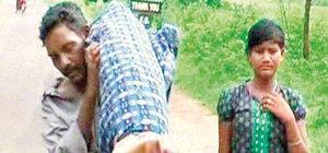 Eşinin cenazesini 12 kilometre taşıdı