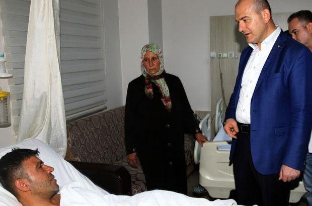 Soylu bombalı saldırıda yaralananları ziyaret etti