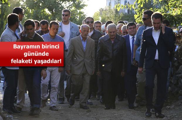 Başbakan Yıldırım Erzincan'da heyelan meydana gelen Aşağı Sütlü köyünde
