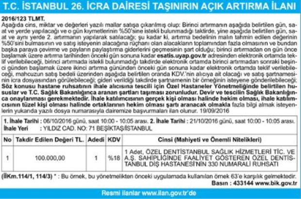 T.C. İSTANBUL 26. İCRA DAİRESİ