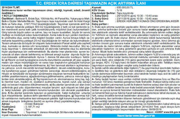 T.C. ERDEK İCRA DAİRESİ TAŞINMAZIN AÇIK ARTIRMA İLANI