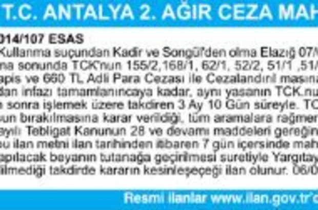 T.C. ANTALYA 2. AĞIR CEZA MAHKEMESİNDEN