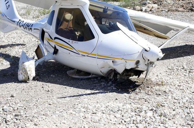 Antalya'da iki kişilik uçak zorunlu iniş yaptı