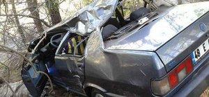 Muğla'da otomobil şarampole yuvarlandı: 4 yaralı