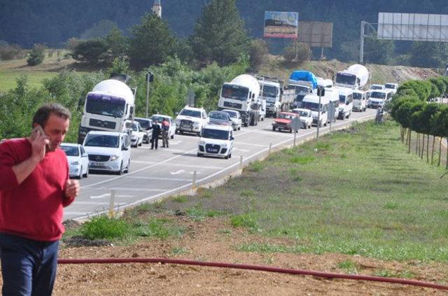 Kastamonu'da etil alkol yüklü tanker yandı