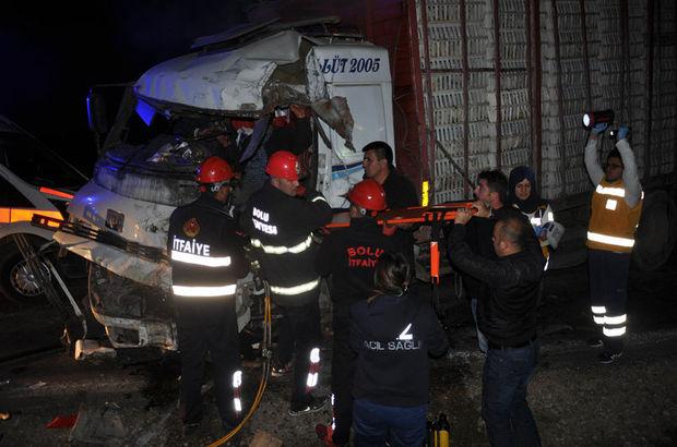 Bolu'da korkunç kaza! İşçileri taşıyan otobüs ile kamyon çarpıştı