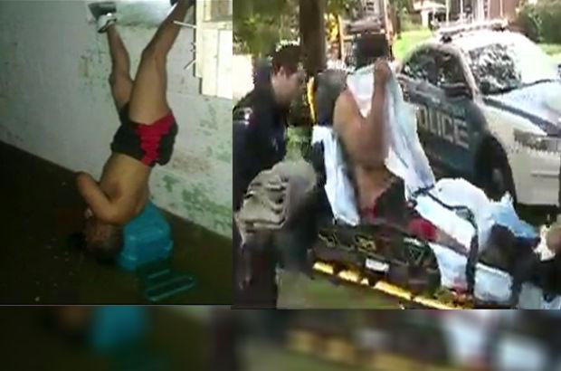 ABD'de kendi evine pencereden girmek isteyen adam 13 saat baş aşağıya asılı kaldı