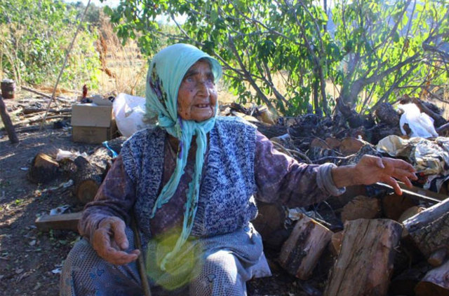 Aydın Efeler'de yaşayan yaşlı kadın Emir Ayşe Gülana'nın dağda çile dolu hayatı