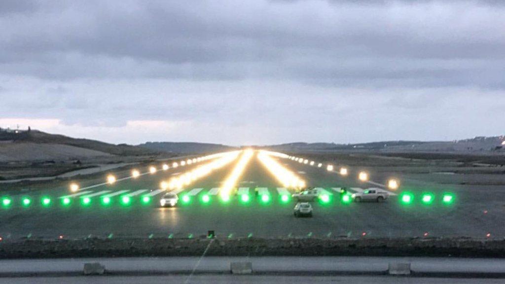 Uçaktaki yolcu görüntüledi! Pistler görünmeye başladı!