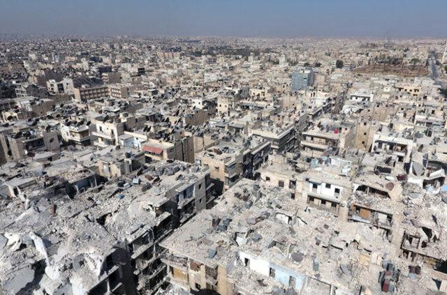 Halep'teki yıkım İHA ile gözler önüne serildi