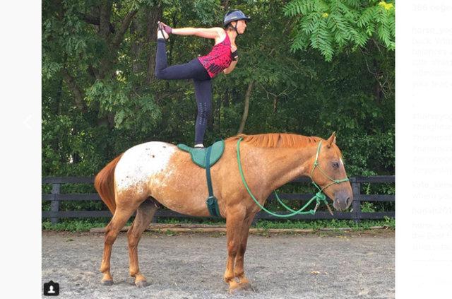 Yogacıların yeni çılgınlığı: At sırtında yoga