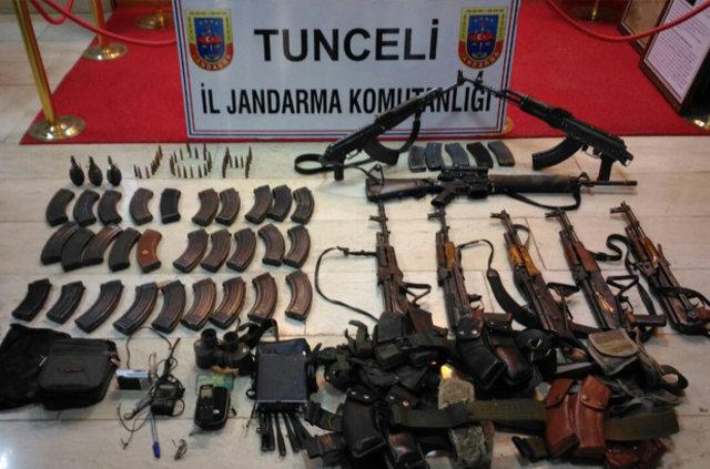 Tunceli'de 13 PKK'lının öldürüldüğü operasyonda çok sayıda silah ele geçirildi