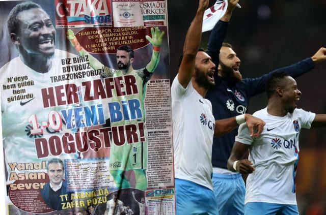 Trabzonspor deplasmanda Galatasaray'ı 1-0 yendi. Yerel gazeteler galibiyeti manşetlerden verdi. İşte yazılanlar