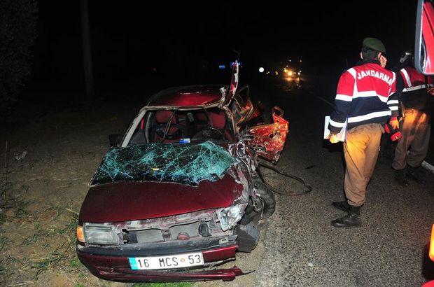 Düğünden dönen otomobil kaza yaptı: 2 ölü, 4 yaralı