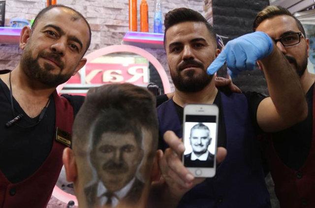Başbakan'ın portresini kafasına kazıttı