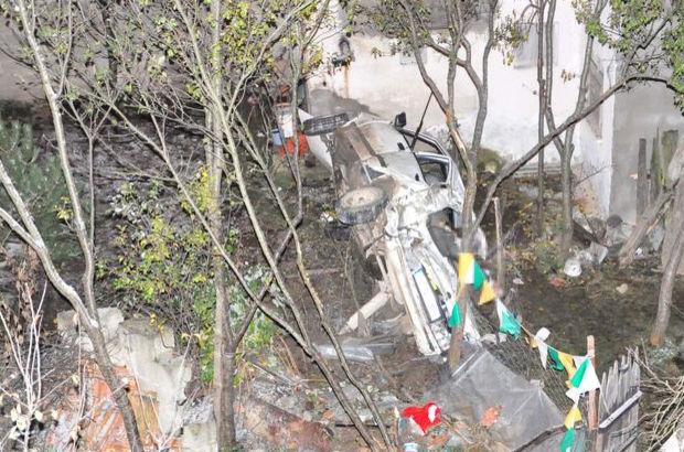 Kastamonu'da bahçeye uçan otomobil