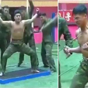 Kim Jong'un askerleri izleyenleri şaşkına çeviriyor!