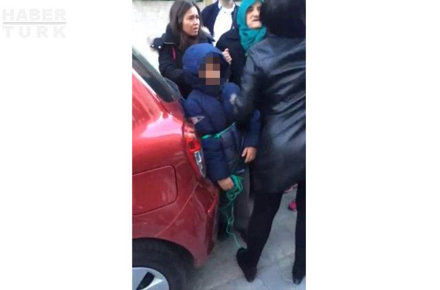 Servisi kaçıran çocuğunu iple araca bağlayıp sürükledi