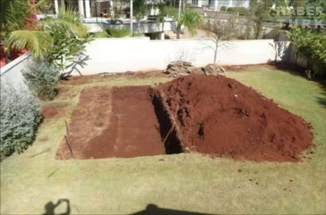 Hiçbir yardım almadan bahçesine havuz yaptı!