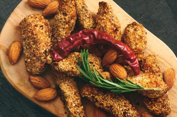 Fırında Badem Unlu Tavuk tarifi