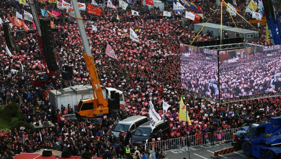 güney kore protesto