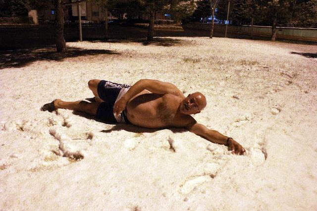"""Niğde'de """"Kar Kaplanı""""nın ilk kar sevinci"""