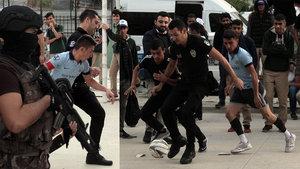 Polis, operasyonu tamamlayıp öğrencilerle futbol oynadı