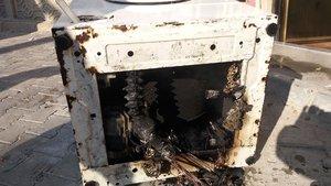 Tekirdağ'da patlayan çamaşır makinesi korkuttu