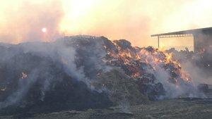 Tekirdağ'da 10 bin balya alev alev yandı