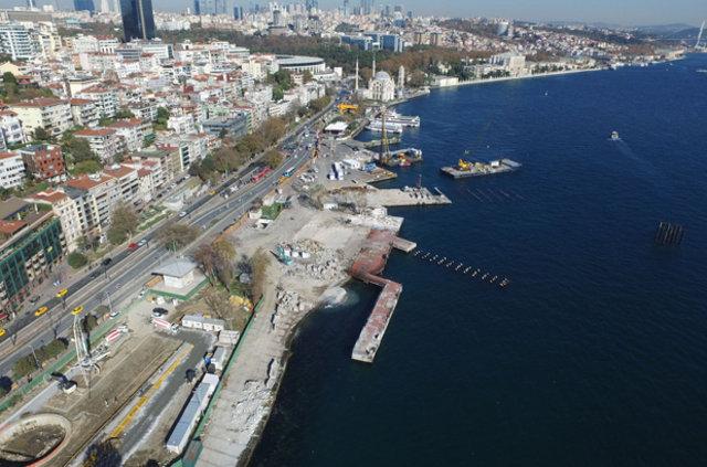 """İstanbul Kabataş'ta """"Martı"""" projesi iskeleleri ortaya çıkmaya başladı"""