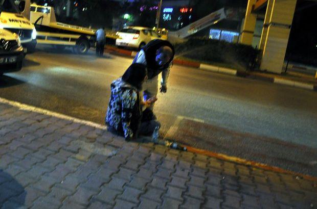 Antalya'da aracı ile orta refüje çıkan kadın sürücü gözyaşlarını tutamadı