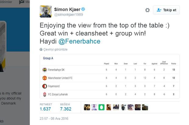 Fenerbahçe'li futbolculardan galibiyet sevinci