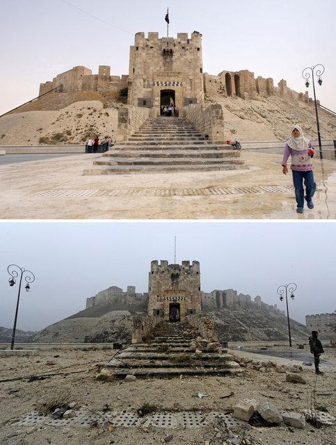 Savaş öncesi ve sonrası Halep fotoğrafları
