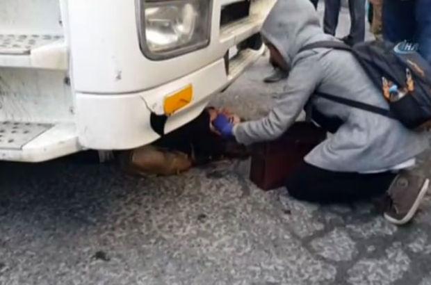 Levent'te bir kadın hafriyat kamyonunun altında kaldı