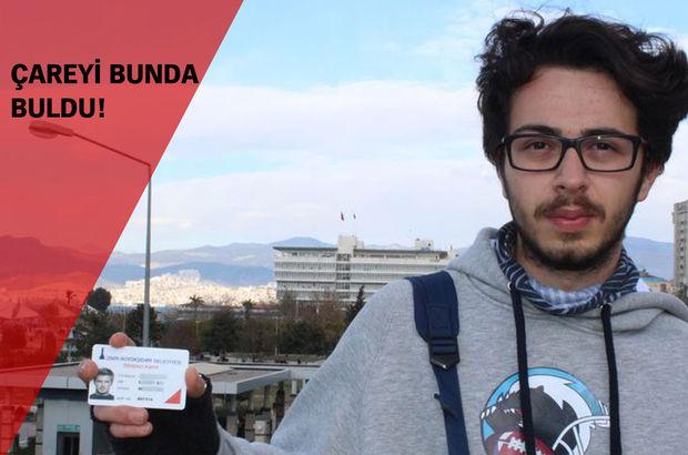 İzmir'de bir öğrenci Beckham fotoğraflı kartıyla yolculuk yapıyor
