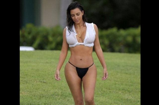 Kim Kardashian kalçasına makyaj yaptırdı