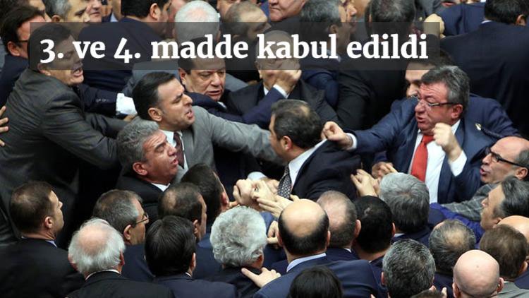 Teklifin 3. maddesi üzerinde görüşmeler başladı ancak AK Parti ve CHP'li vekiller arasında yaşanan tartışma nedeniyle maddenin oylaması durdu. Yaşanan arbededen sonra yarıda kalan oylama tekrar edilirken madde 341 'Evet' oyu ile kabul edildi.